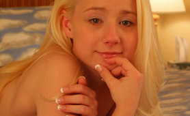 Cute Blonde Teen Strips Topless