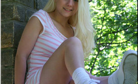 Cute Blonde Teen In Tight Sundress
