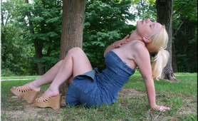 Busting Out of Tight Jean Dress