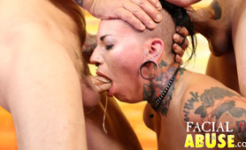 Tattoo girl throat fuck porn