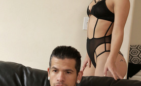 Alina Lopez dresses up in sexy lingerie to seduce her man with a blowjob and a stiffie ride in her cock hungry pussy