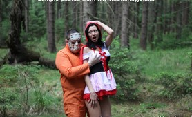 skinny girl double anal fisted by scary jason in the woods outdoors