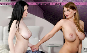 Busty coeds Angel Princess and Lucy Li put magic mouths and talented fingers towards each others orgamsic pleasure