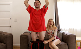 Alexa Grace really wants the television and will deep throat her stepbrothers hard dick and fuck him hard to get it