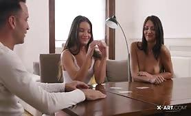 Strip poker turns into threesome