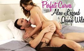Curvaceous bigtit hottie Quinn Wilde seduces her boyfriend then gives him a stiffie ride in her creamy trimmed pussy