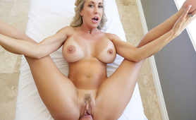 Hot MILF with huge tits seduces her young tennis instructor.
