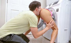 Stepsis gets stuck in a washing machine. Stepbro offers to help her out for a price.