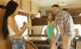 Angel Smalls goes on a road trip with Katya Rodriguez and her stepbrother where they all fuck each other