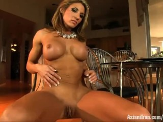 Iron Abby Marie female bodybuilder with large clit
