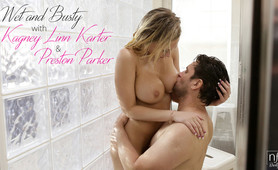 Bigtit beauty Kagney Linn Karter gives her man a BJ and titty fuck before letting him pound her pussy in the shower