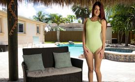 teen in a one piece bathing suit, Jeni Juice gets nude